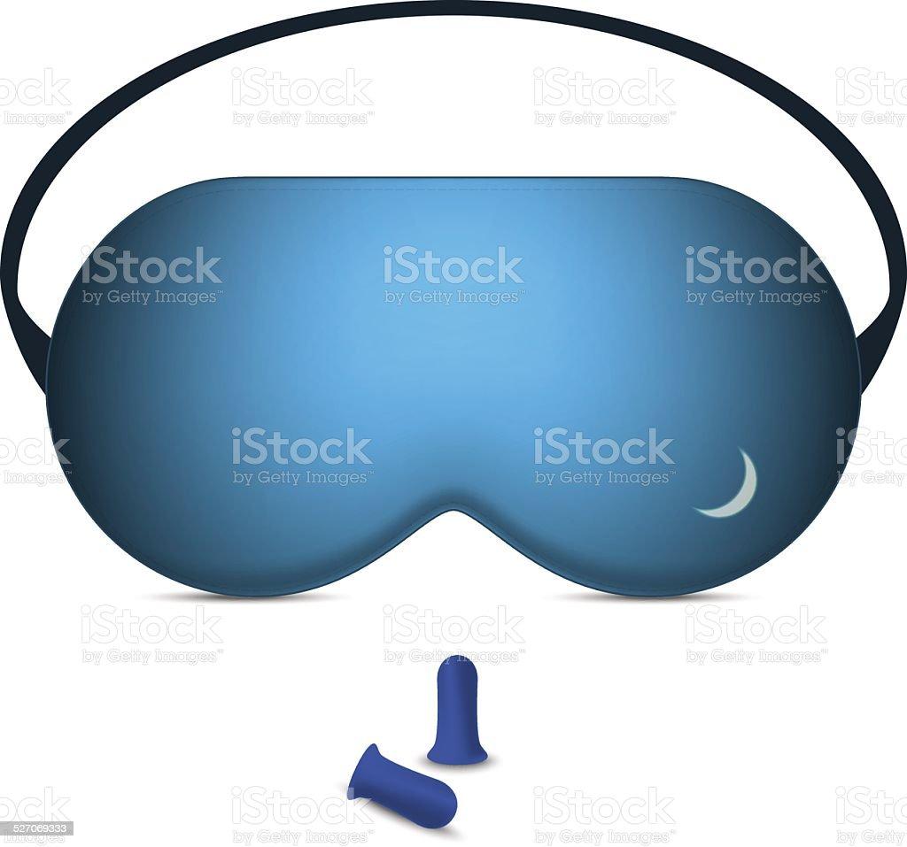 Vector illustration of sleeping mask and pair of foam earplugs vector art illustration