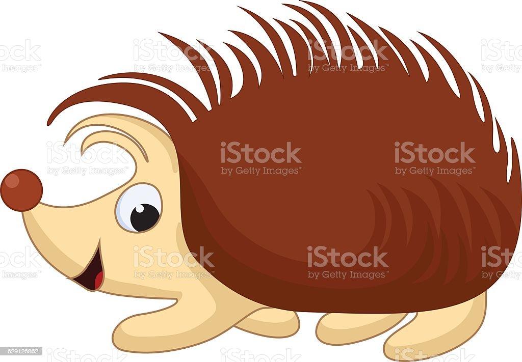 Vector Illustration of Smiling Cartoon Hedgehog vector art illustration
