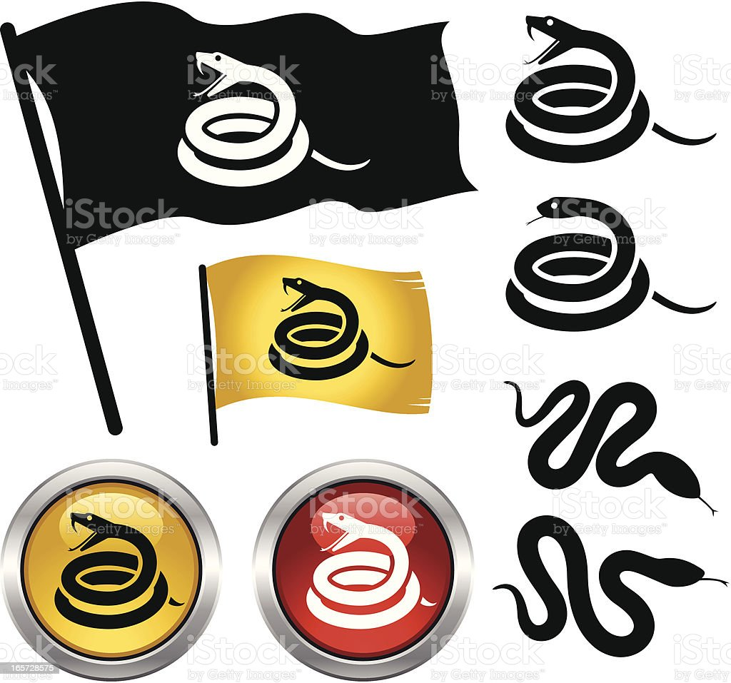 Vector illustration of snakes in buttons and flags vector art illustration