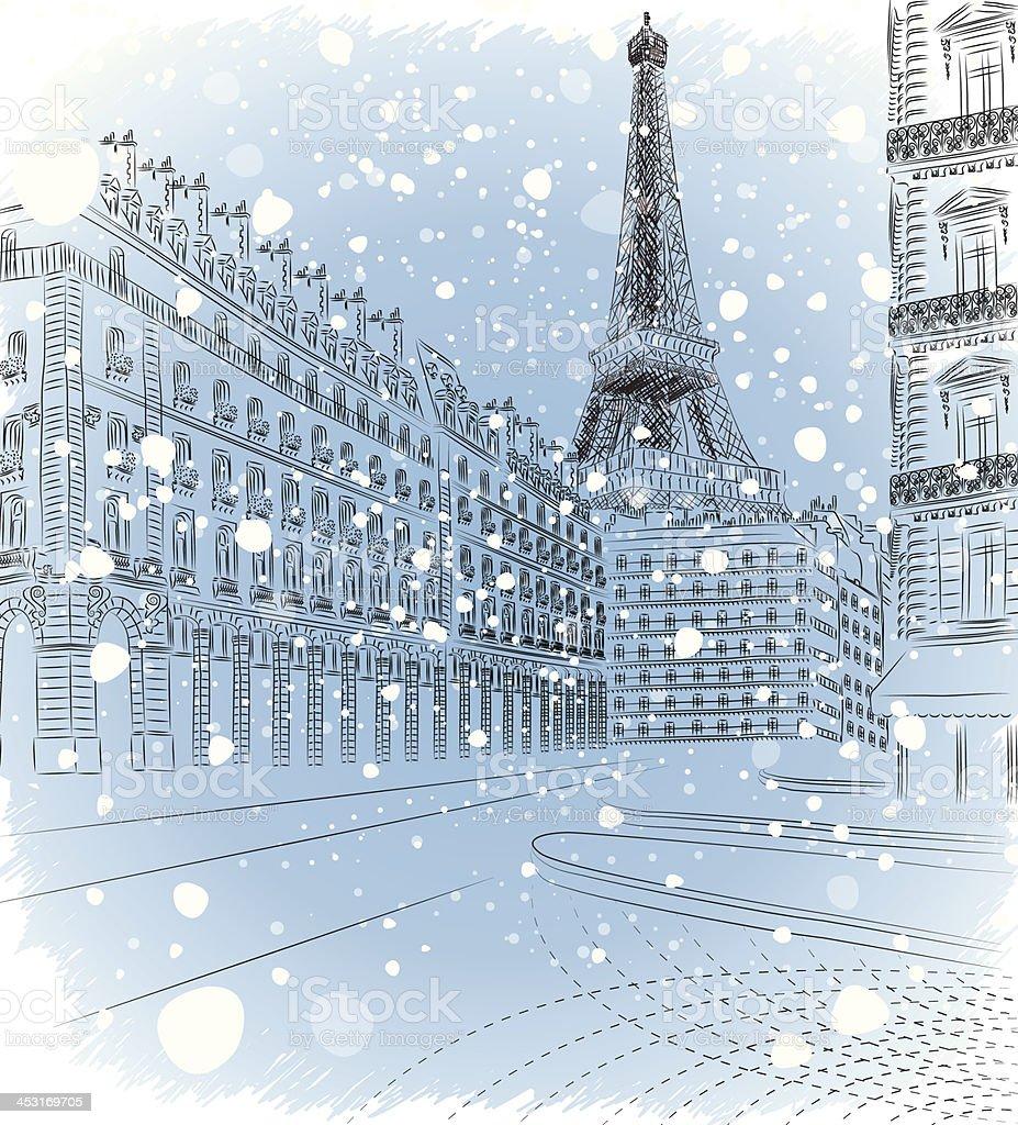 Vector illustration of snowy Christmas Paris vector art illustration
