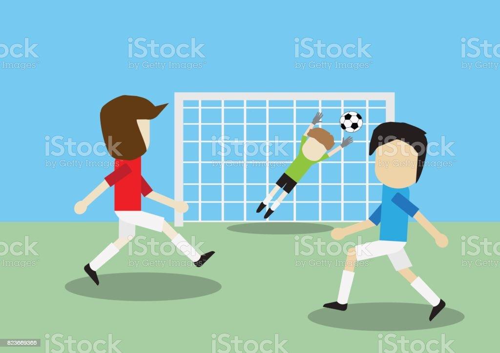 Vector illustration of Soccer football player training shoot goal in football field vector art illustration