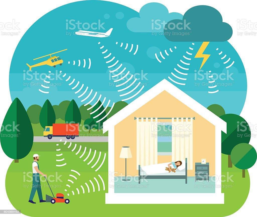 Vector illustration of soundproofing house vector art illustration