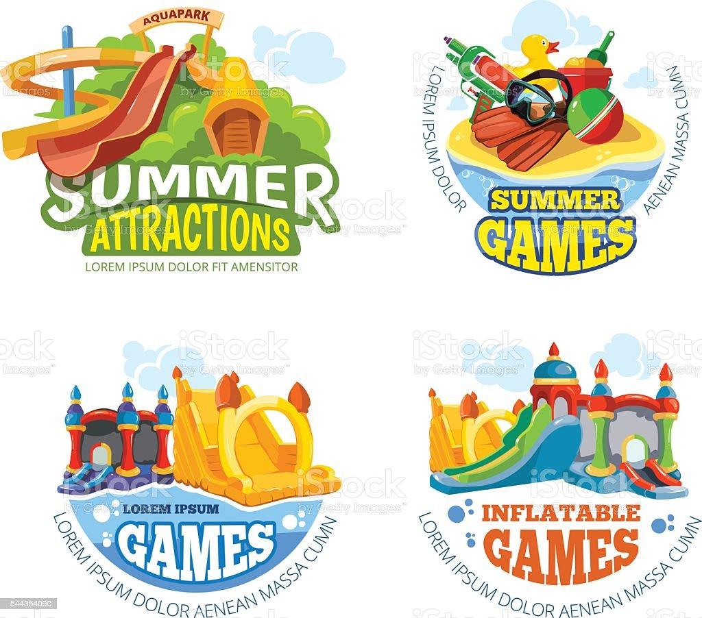 Vector illustration of summer labels vector art illustration