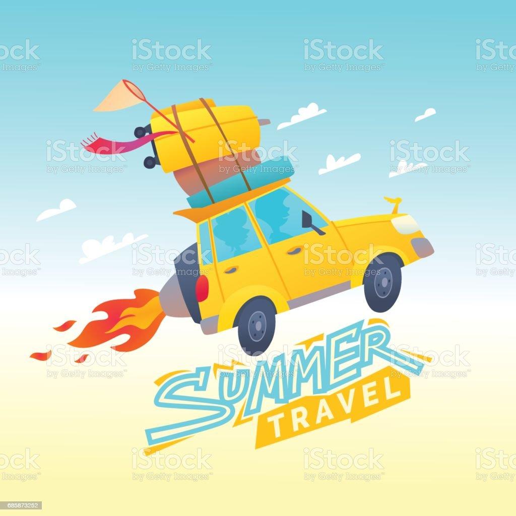 Vector illustration of Summer travel with a flying car vector art illustration