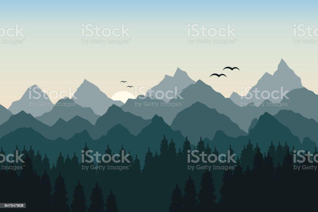 Vector illustration of sunrise in the mountains vector art illustration