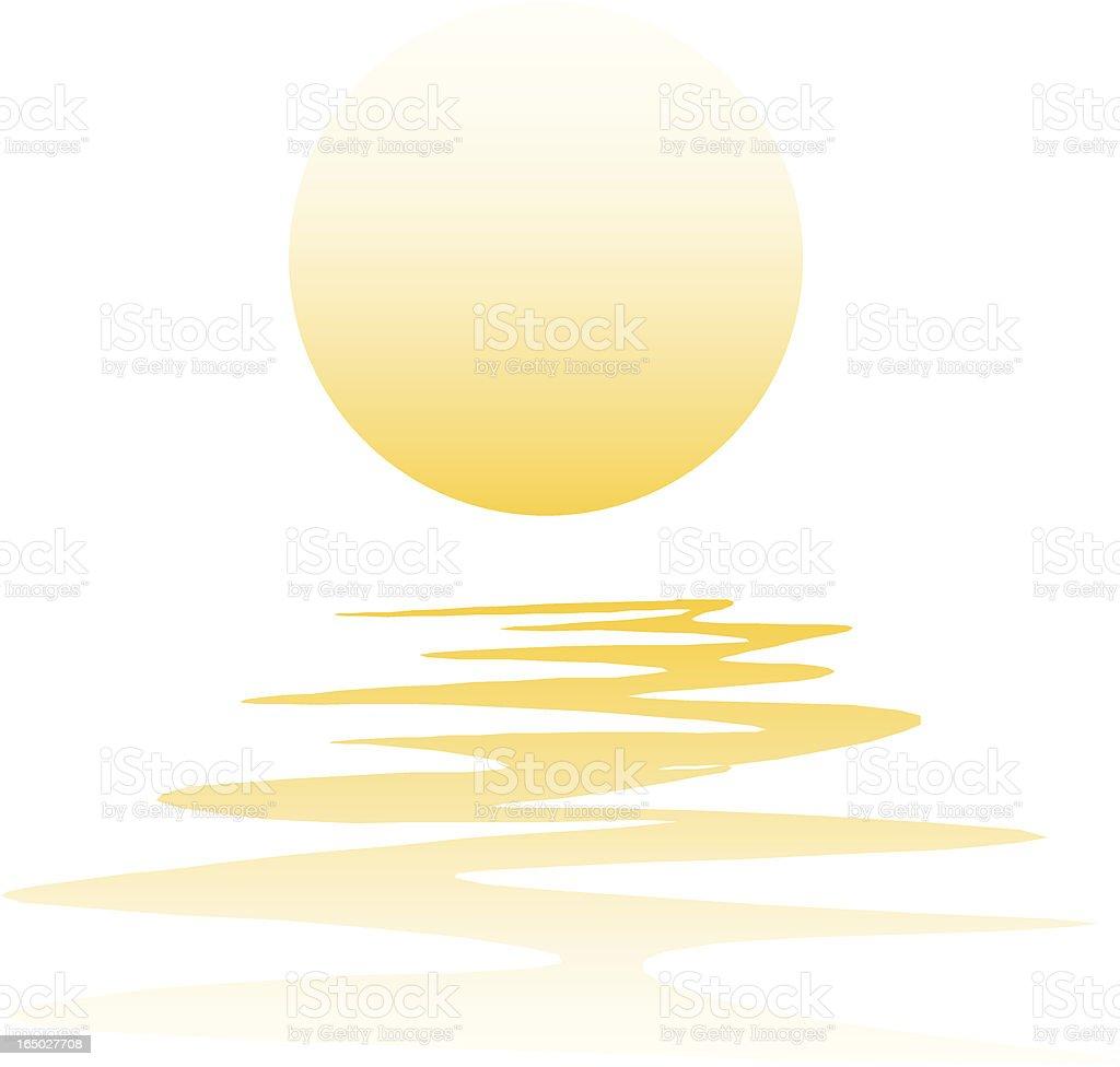 Vector illustration of sunset reflection on water vector art illustration