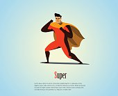 Vector illustration of superhero, business power icon.