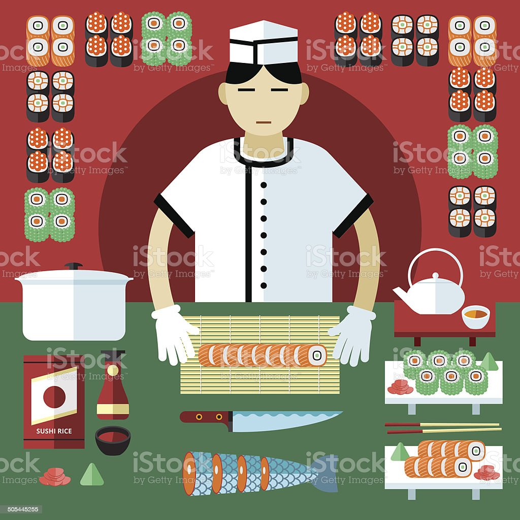Vector illustration of sushi master and Japanese food stuff. vector art illustration