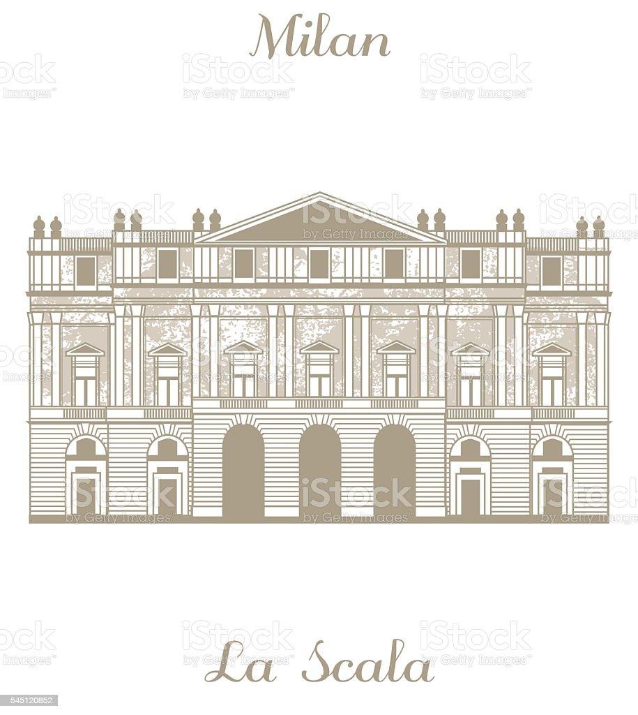 vector illustration of Teatro alla Scala in Milan vector art illustration