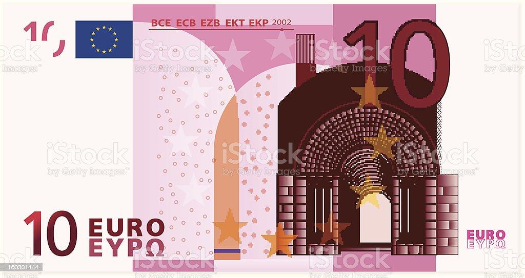 Vector illustration of ten Euro banknote vector art illustration