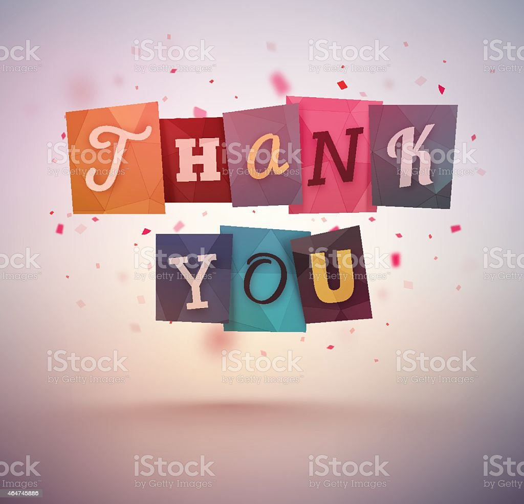 Vector illustration of thank you in various fonts vector art illustration