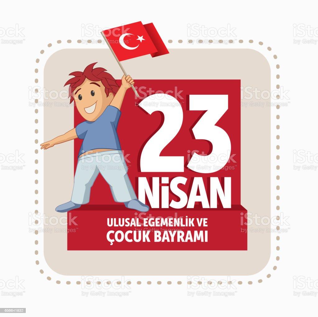 Vector illustration of the 23 Nisan Cocuk Bayrami vector art illustration