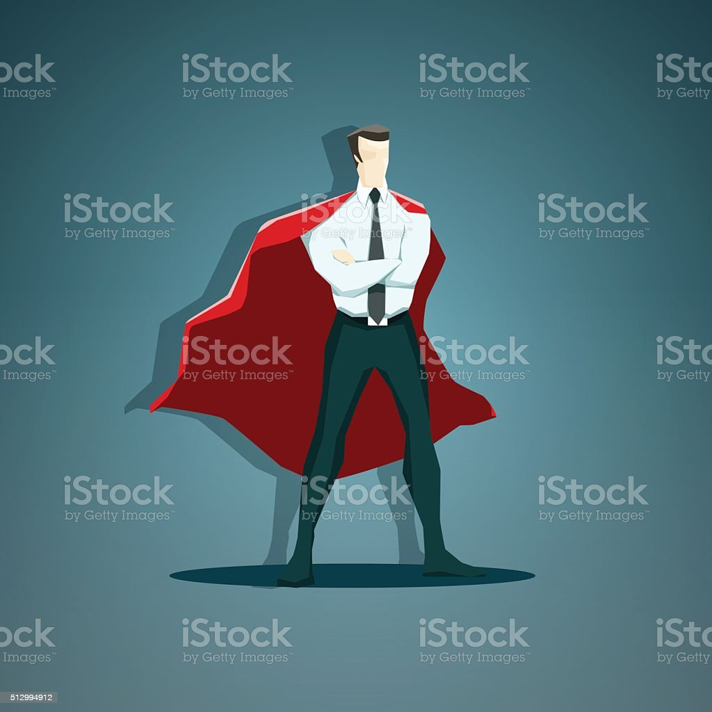 Vector illustration of the businessman superhero - stock vector vector art illustration