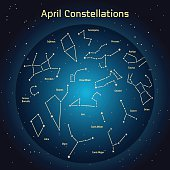 Vector illustration of the constellations  the night sky in April.