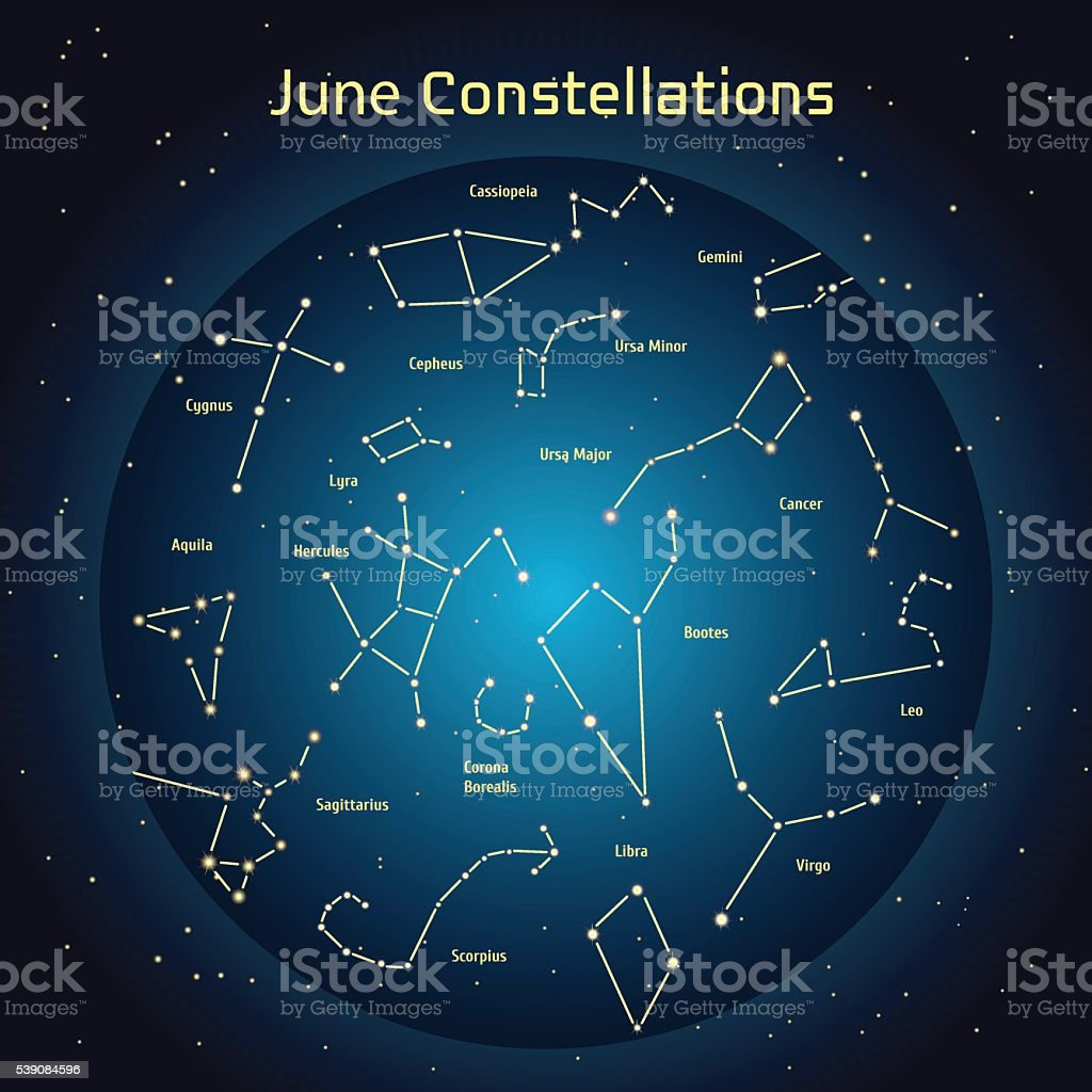 Vector illustration of the constellations the night sky in June vector art illustration