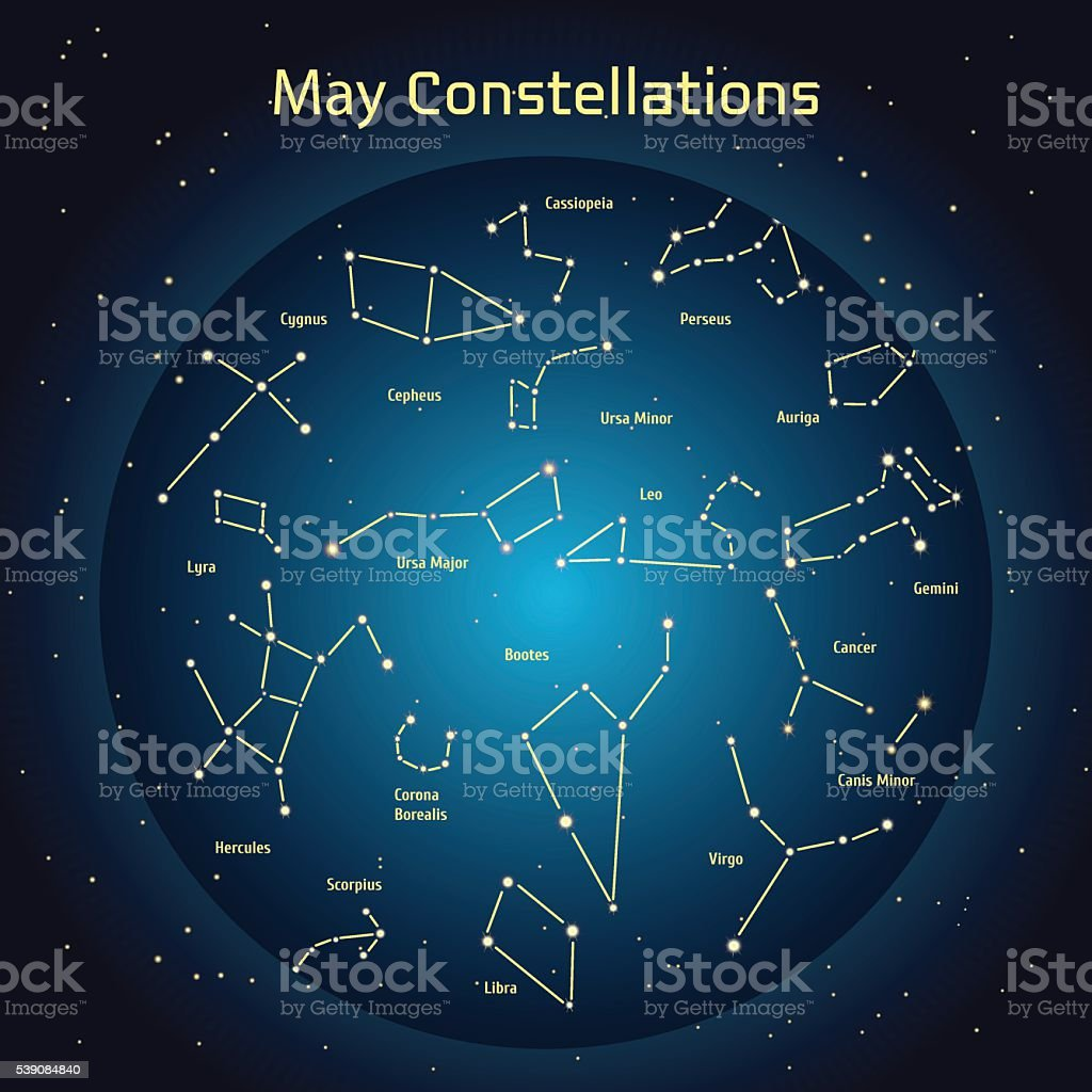 Vector illustration of the constellations  the night sky in May vector art illustration