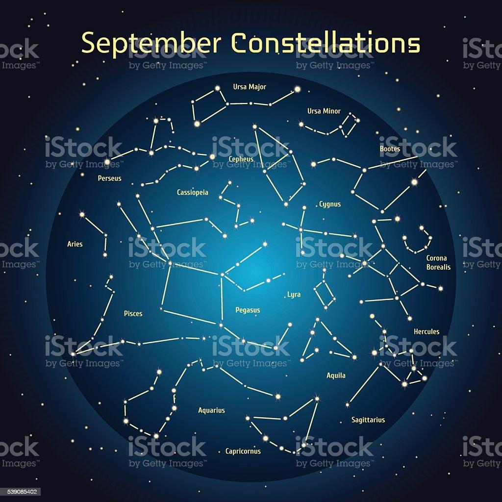 Vector illustration of the constellations  the night sky in September vector art illustration