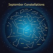 Vector illustration of the constellations  the night sky in September