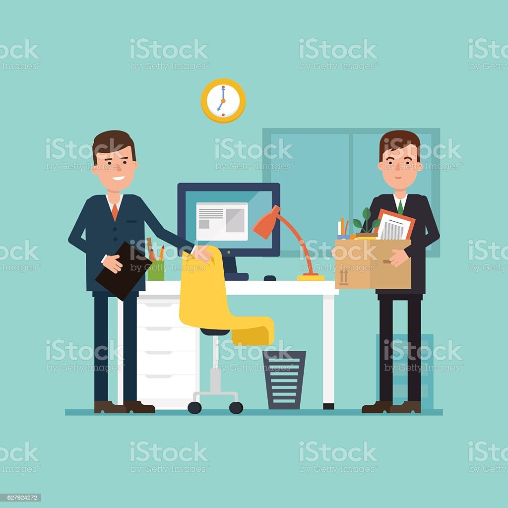 Vector illustration of the first working day. Employee comes in vector art illustration