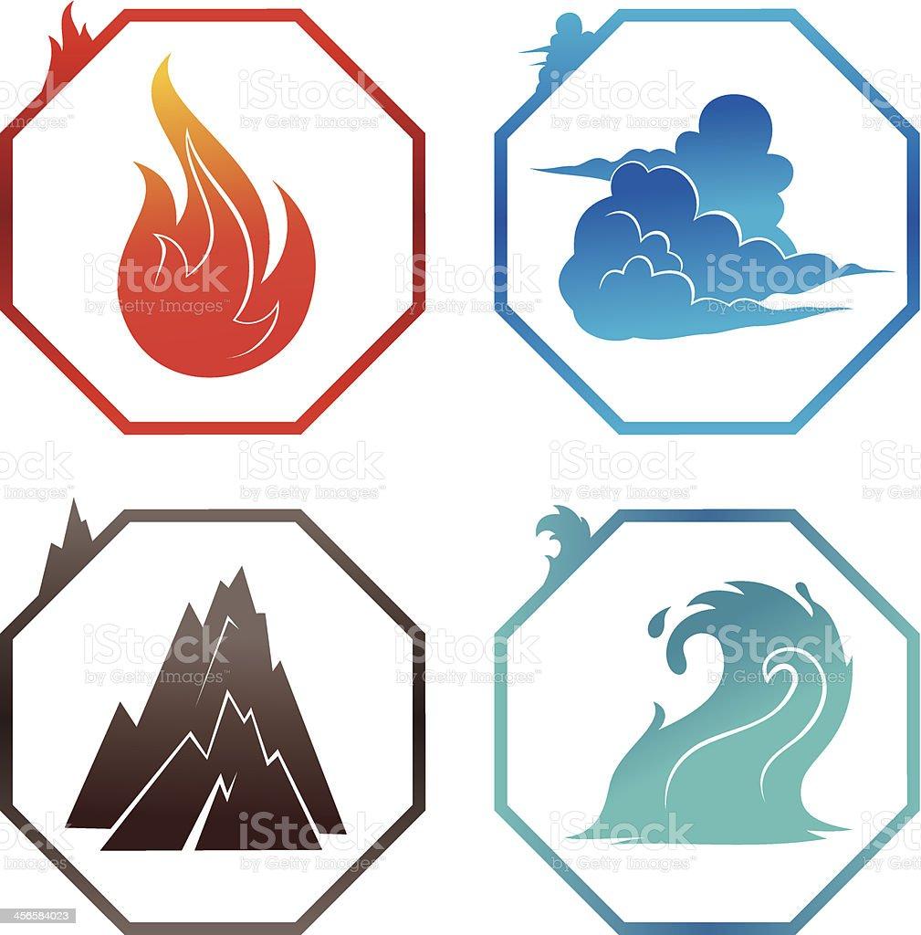 Vector illustration of the four elements vector art illustration