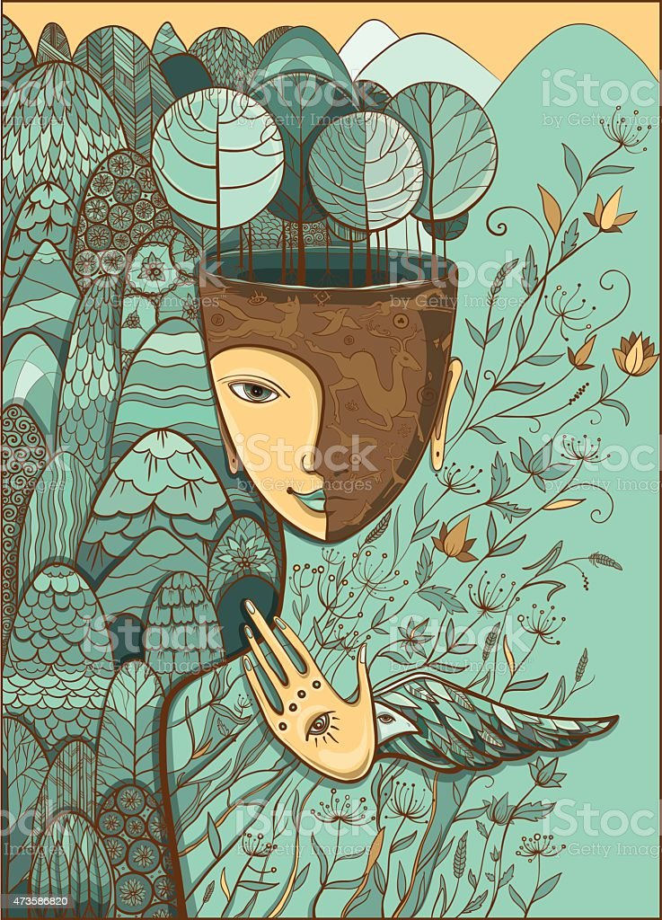 Vector illustration of the goddess of Mother Nature vector art illustration