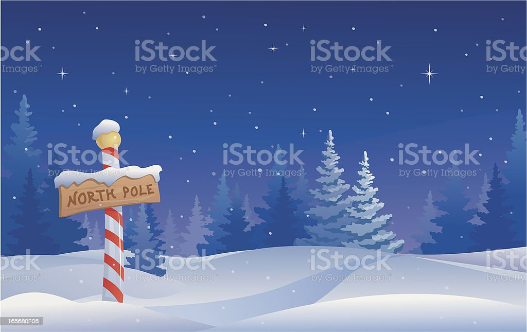 Vector illustration of the North Pole in Christmas decor vector art illustration