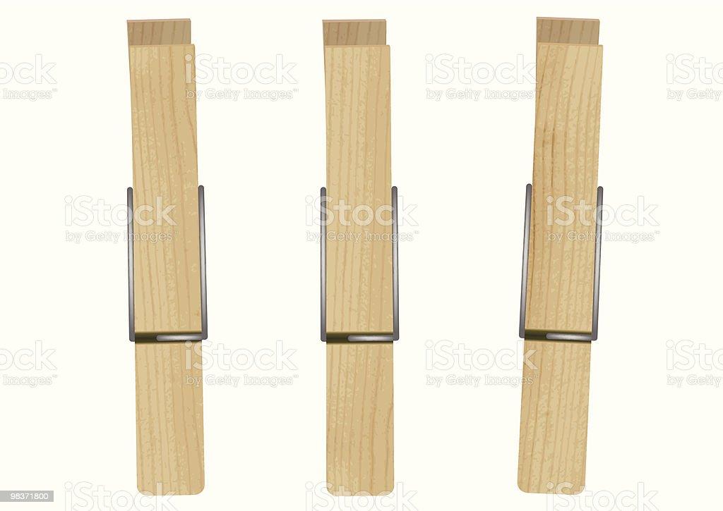 Vector illustration of three clothespins vector art illustration