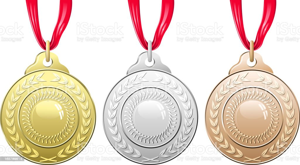 Vector illustration of three medals royalty-free stock vector art