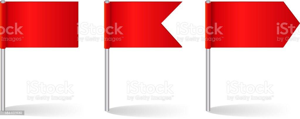 Vector illustration of three red flag options vector art illustration