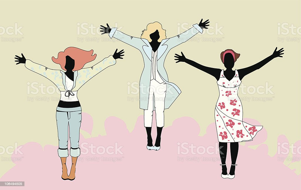 Vector illustration of three women in various outfits royalty-free stock vector art