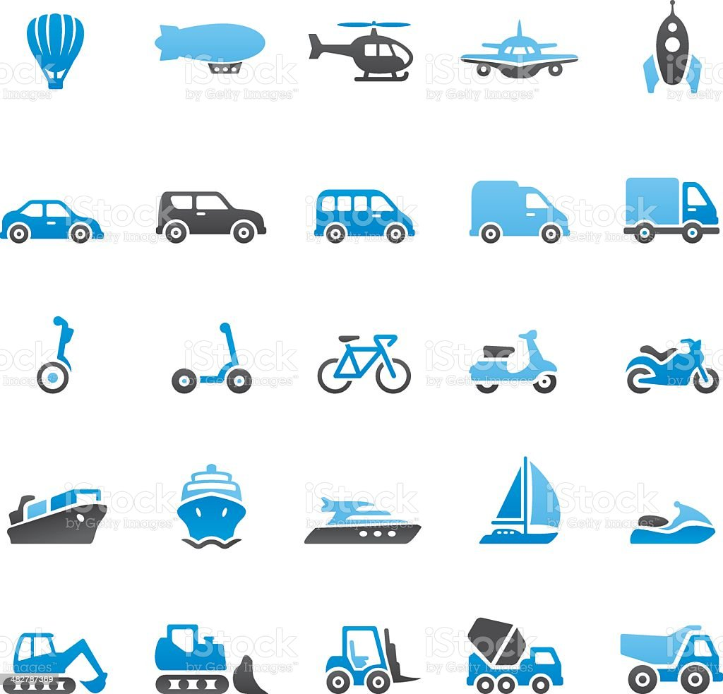 Vector illustration of transport and vehicle icons vector art illustration