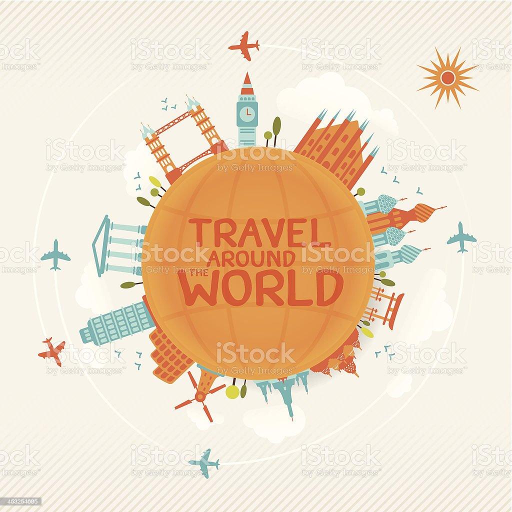 vector illustration of travel famous monuments around world vector art illustration