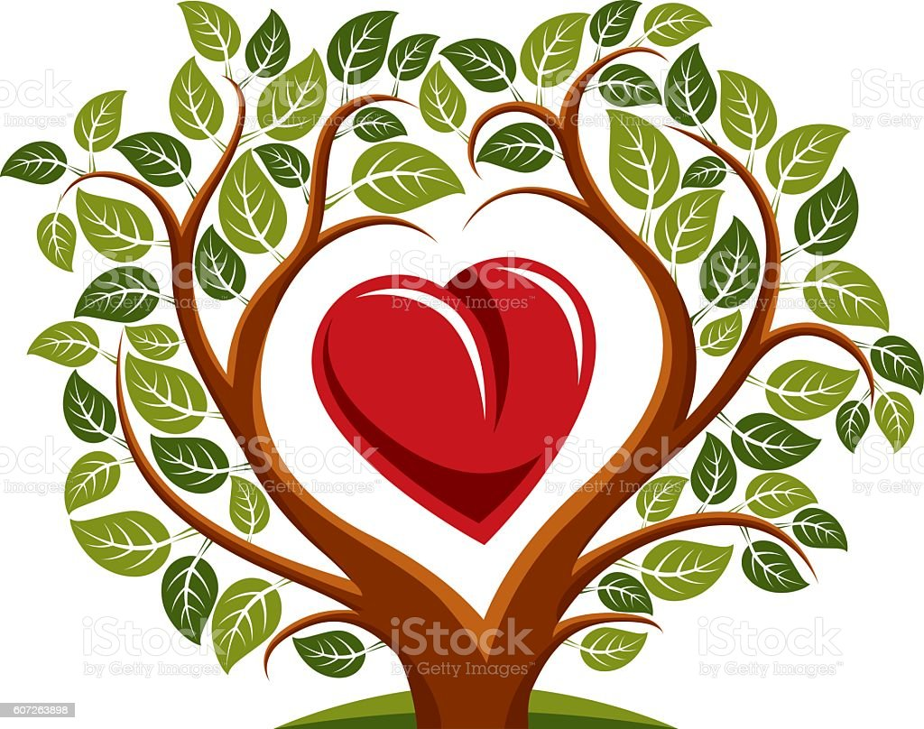 Vector illustration of tree with branches in shape of heart vector art illustration