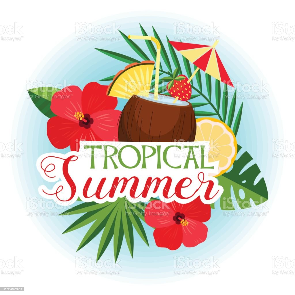 Vector illustration of tropical cocktail in coconut, exotic flowers and leaves. The tropical summer. vector art illustration