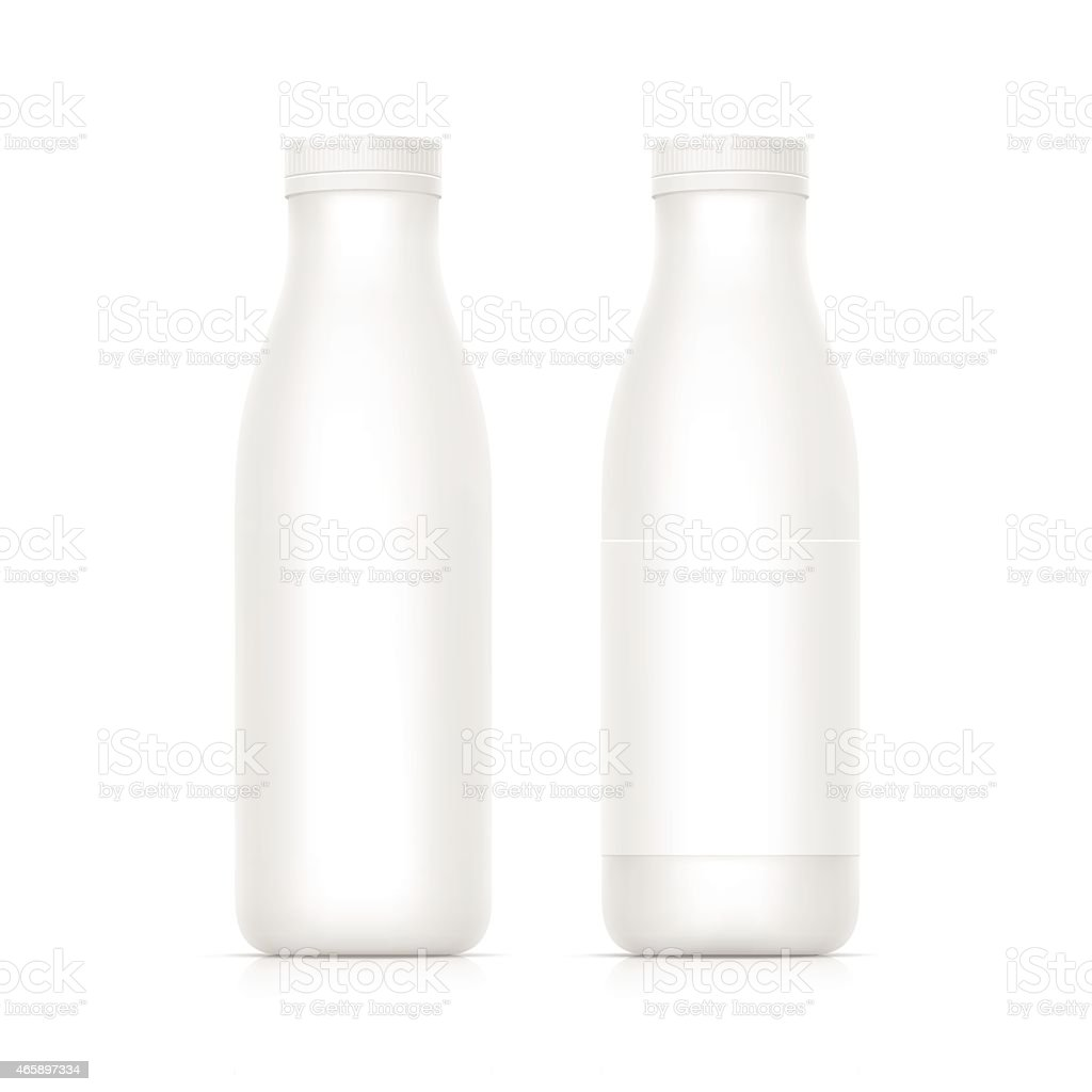 Vector illustration of two blank white milk/yogurt bottles vector art illustration