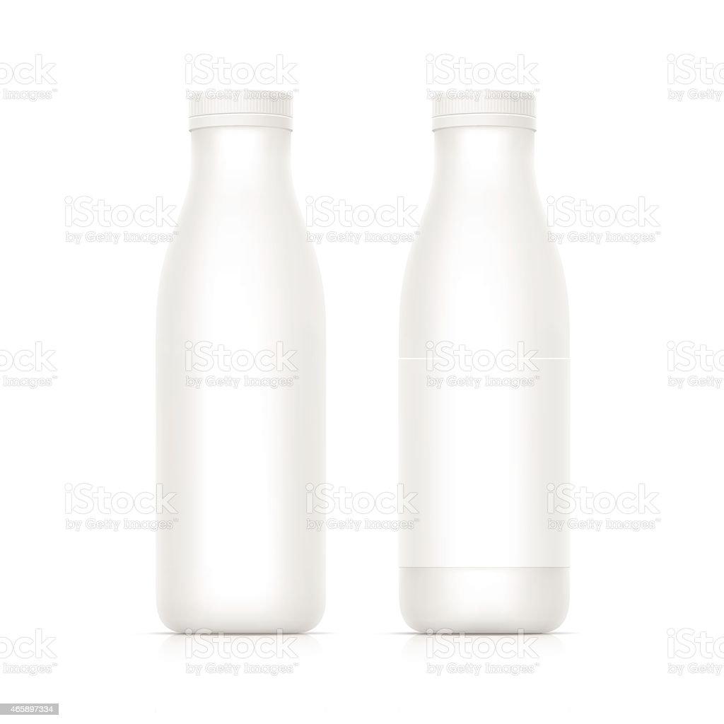 Vector illustration of two blank white milk/yogurt bottles vector art illustration