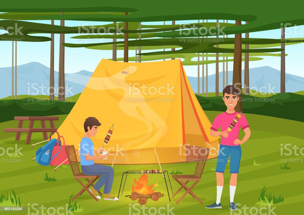 Vector illustration of two friends cooking bbq barbeque and sitting near camping tent. vector art illustration