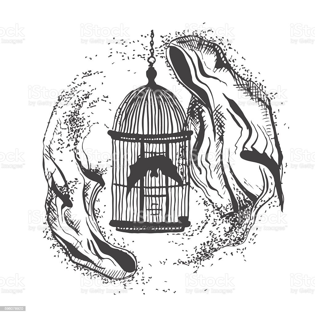 vector illustration of two ghosts flying around bird cages vector art illustration