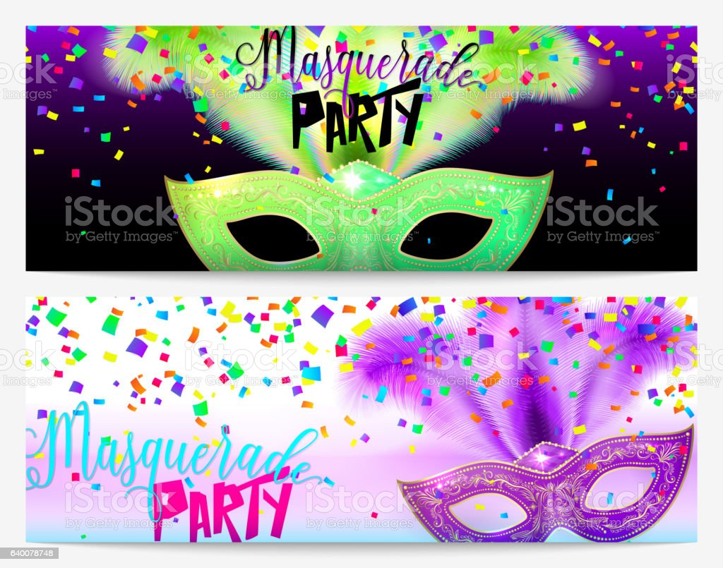 vector illustration of two masquerade party flyer templates stock banner sign carnival celebration event christmas confetti decoration vector illustration of two masquerade party flyer templates