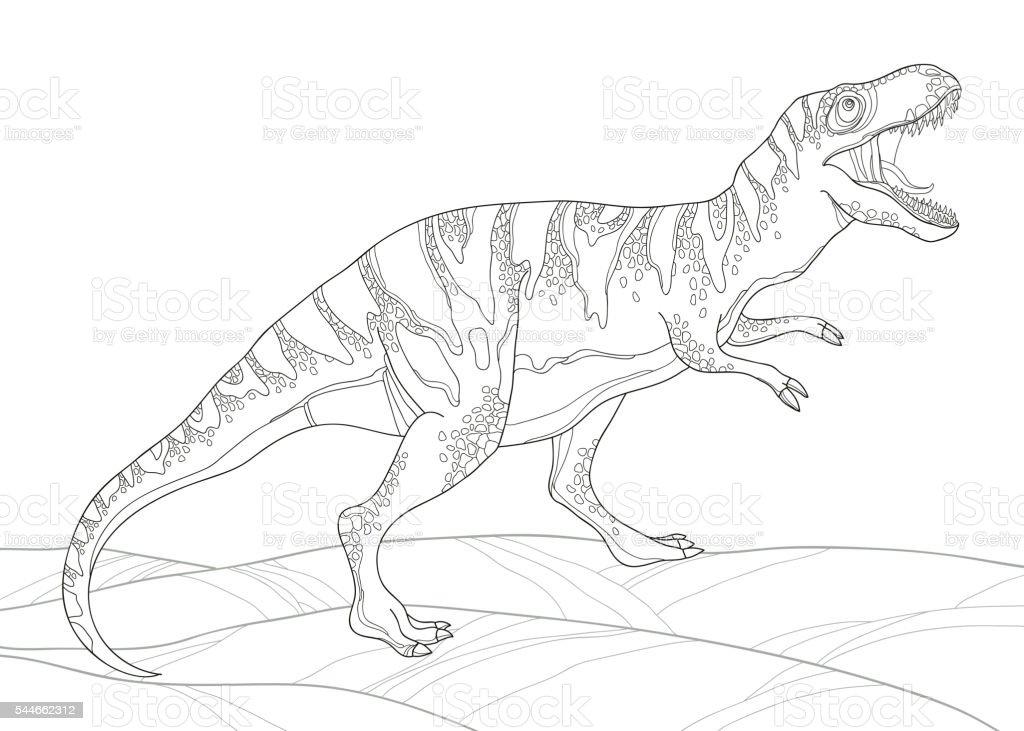 Vector illustration of  Tyrannosaurus or Tyrannosaurus rex isolated on white. vector art illustration