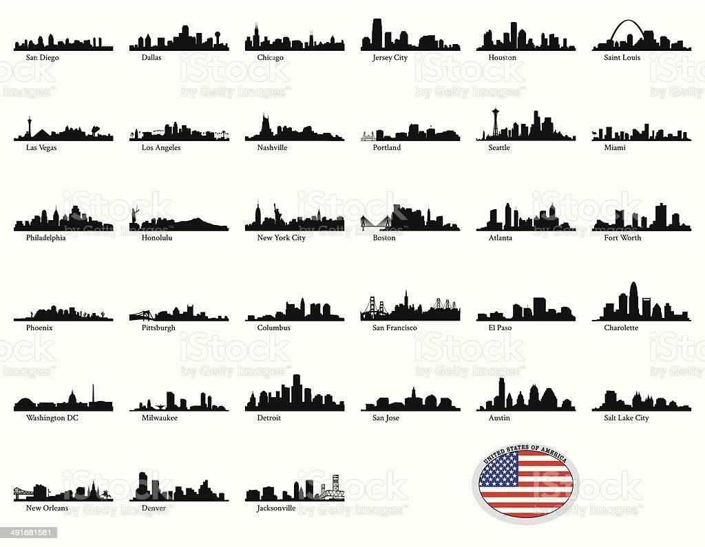 Vector illustration of US cities vector art illustration