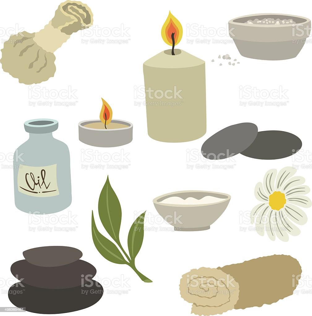 vector illustration of various devices for spa procedures vector art illustration