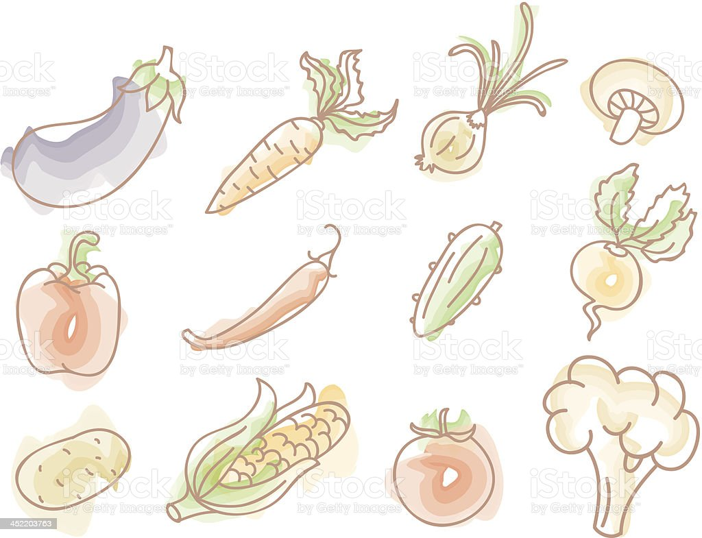 Vector illustration of Vegetables colorful doodles set royalty-free stock vector art