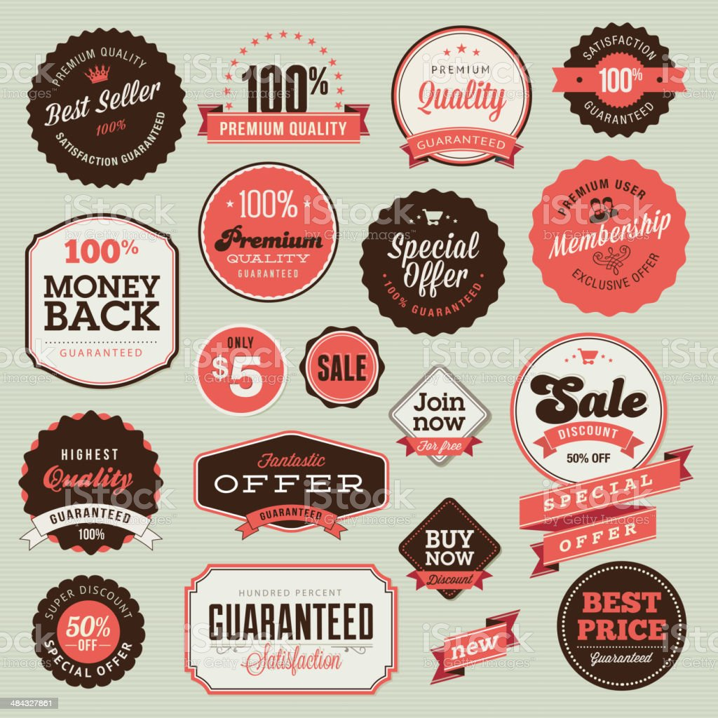 Vector illustration of vintage badges and labels vector art illustration