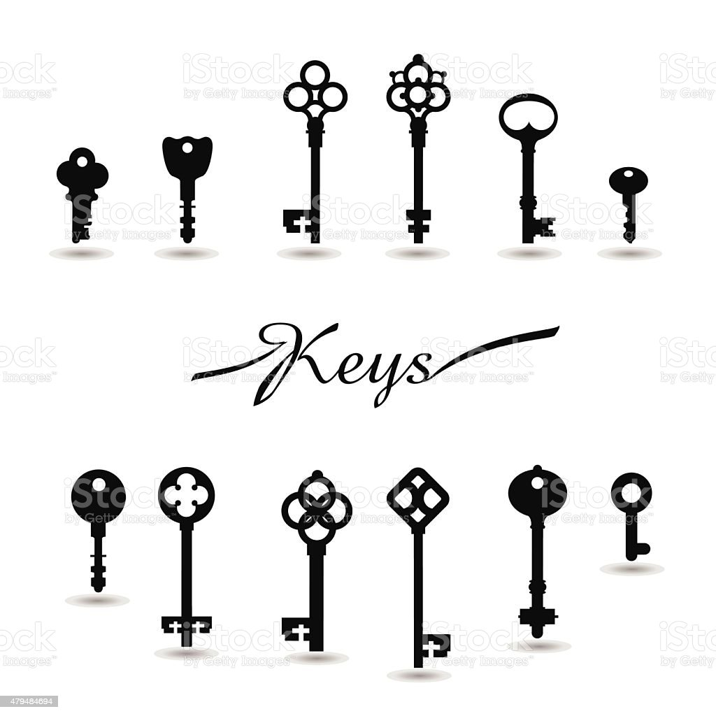 Vector Illustration of Vintage keys. vector art illustration