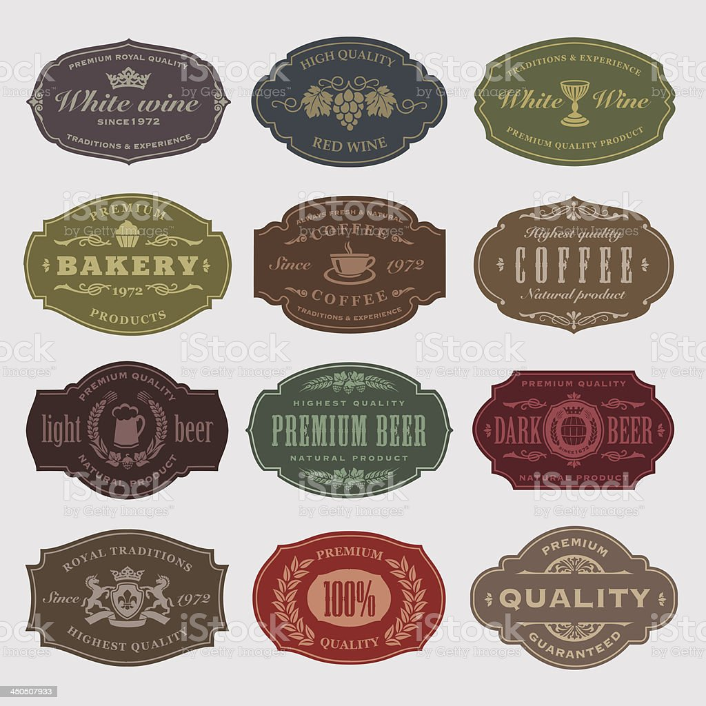 Vector illustration of vintage produce labels vector art illustration