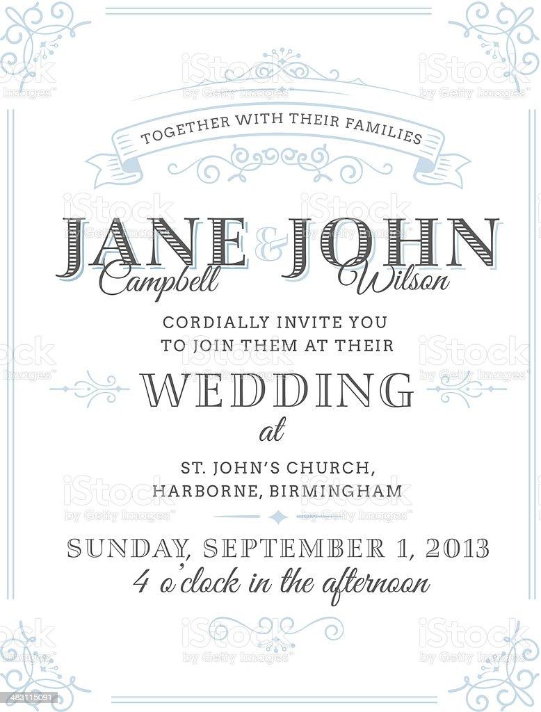 Vector illustration of vintage wedding invitation vector art illustration