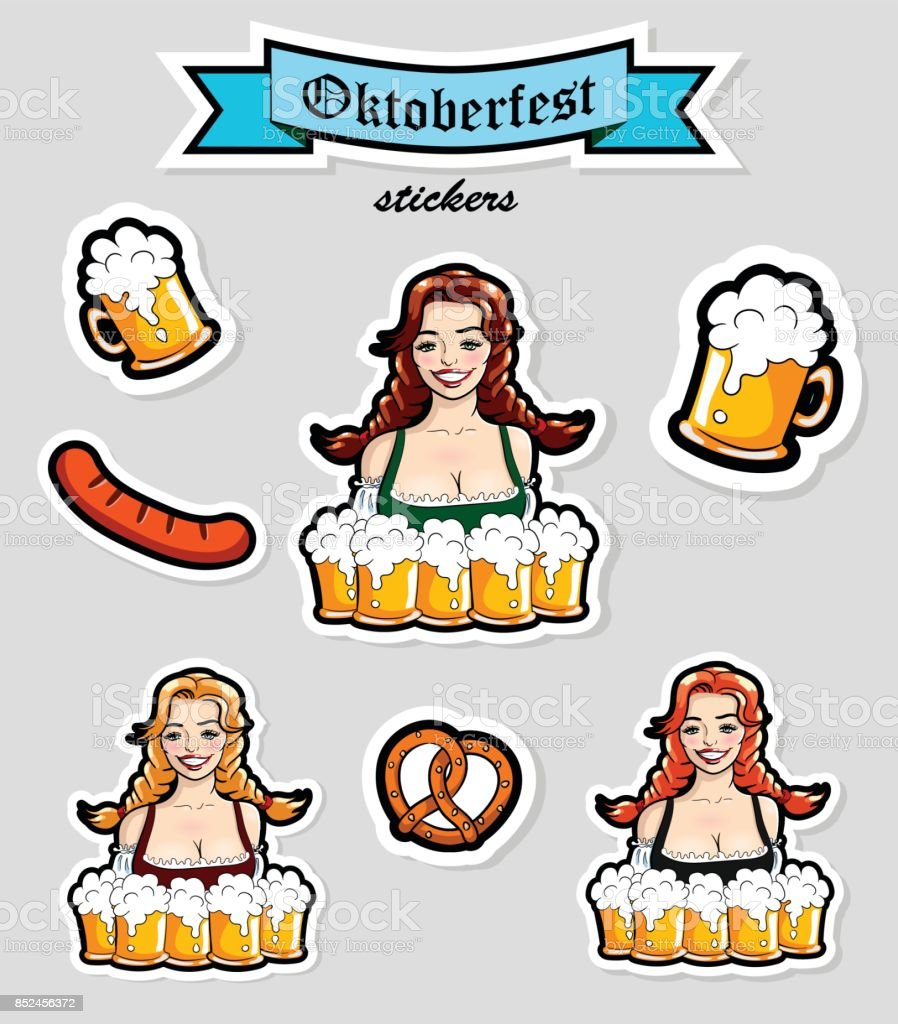 Vector illustration of waitress with mugs of beer. Oktoberfest stickers, . vector art illustration