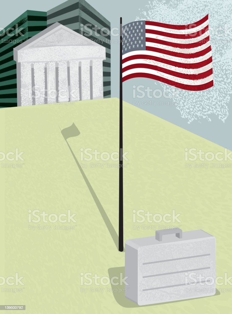 Vector illustration of Wall street with American flag royalty-free stock vector art