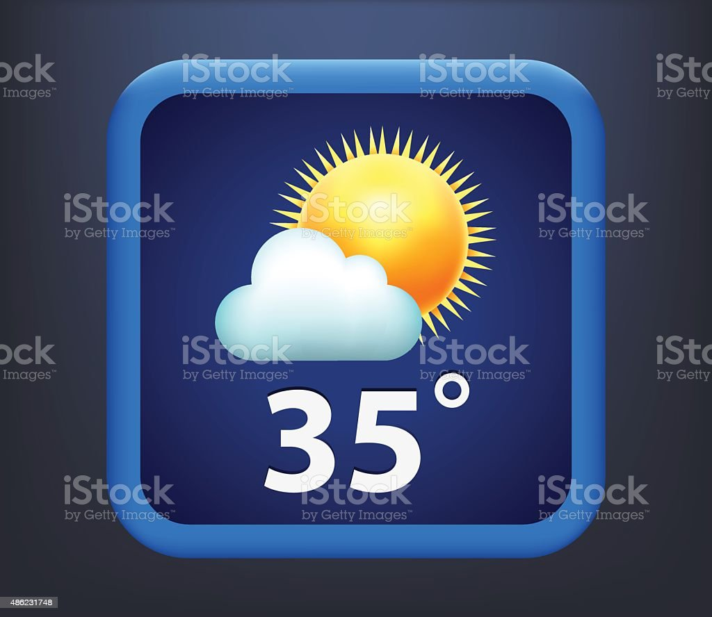 Vector illustration of weather icon - sun with cloud vector art illustration